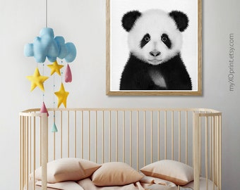Panda Wall Print, Printable Nursery, Black And White Bear, Animal Portrait, Baby Room Poster, Panda Gift, Nursery Wall Decor, Panda Photo
