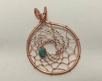 Copper Dream Catcher Necklace Pendant copper wire necklace Native American jewelry