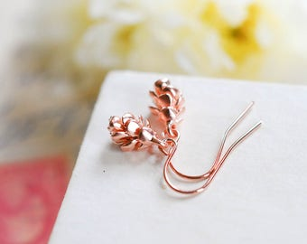 Pinecone Pine Cone Earrings, Rose Gold Jewelry Jewellery, birthday gift, Fall Jewelry Autumn Jewellery, Mothers day Gift for her mom wife