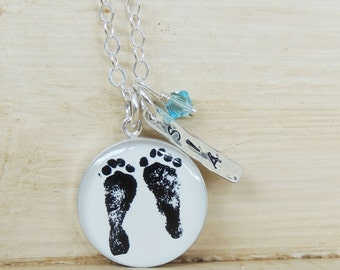 Baby Footprint Necklace - Mother's Necklace - Baby's Footprints - Footprint Jewelry - Mom Necklace - Mother's Day - Infant Loss - memorial