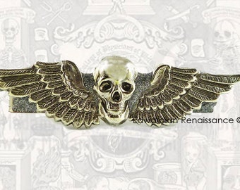 Antique Silver Skull Head with Wings Tie Clip Inlaid in Hand Painted Enamel Gothic Victorian Tie Bar Accent Custom Colors Available