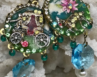 Lilygrace Upcycled Vintage Brooch Donkey and Coach Earrings with Vintage Rhinestones and Freshwater Pearls