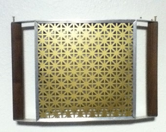 Upcycled jewelry organizer / earring holder made from radiator cover screen with wooden side handles [Steampunk]