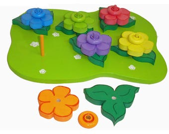 Color Matching Game Rainbow Flower Garden Stacking Puzzle Rainbow Stacking Toy Developmental Toy Waldorf Toy Creative Educational Play