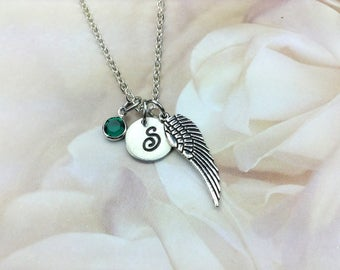 Guardian Angel Wing Necklace / Initial Necklace/ Memorial /Loss of A Loved One/Remeberance Gift / Sympathy Gift/ Personalized /Heavan Cross