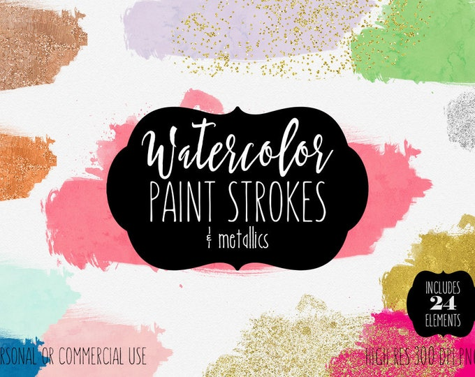 WATERCOLOR BRUSH TEXTURES Clipart Commercial Use Clip Art Paint Strokes Splotch Silver Gold Confetti Watercolor Blog Headers Logo Graphics