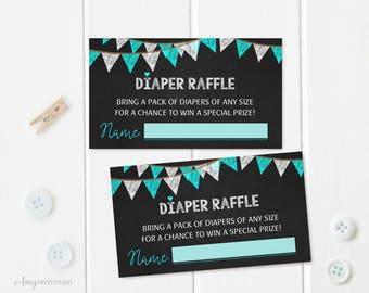 Diaper Raffle Tickets, Diaper Raffle Sign, Chalkboard Baby Shower Diaper Raffle Tickets , Diaper Raffle Cards, Digital file, #A27
