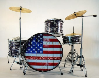 Rock N Roll - Gift for Musicians - Drummer Gifts - Drum Kit - Miniature Drum Kit- Distressed American Flag Miniature drum Kit - 1:4 Scale