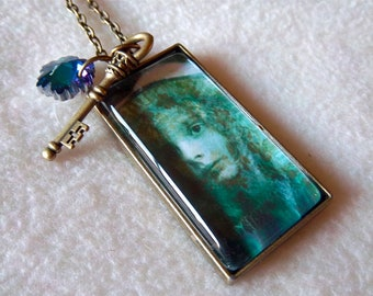 Healing Ragamuffin pendant necklace, Teal Waif Too, No.53