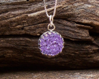 Recycled Vintage Amethyst Glass Bottle Druzy Glass Necklace