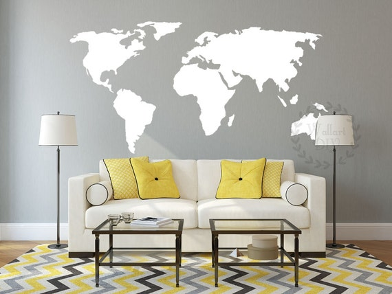 Vinyl world map wall decal large map wall mural map of the like this item gumiabroncs Image collections