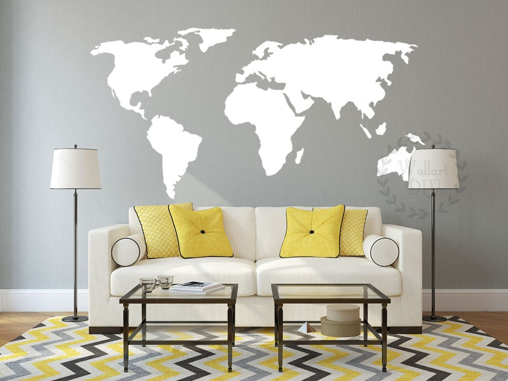 Vinyl world map wall decal large map wall mural map of the zoom gumiabroncs Image collections