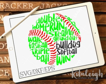 Messy Bulldog Softball design INSTANT DOWNLOAD in dxf/svg/eps for use with programs such as Silhouette Studio and Cricut Design Space