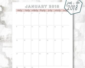The 1 Page Calendar, Monday Start | January - December 2018 | Letter Size | Printable Planner | Printable Calendar | OG Style