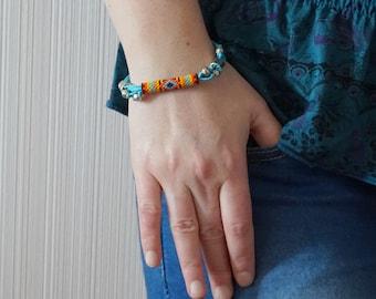 Beaded boho bracelet for girl light blue bracelet Hippie bracelet handcuff bracelet everyday bracelet Summer bracelet blue orange bracelet