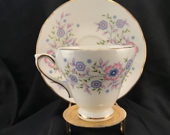 "Avon Fine Pone China ""Blue Blossoms"" Made in England, 1974, Tea Cup & Saucer, Exclusively for Avon Products, Item #561879509"