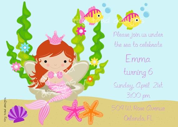 Mermaid under the sea birthday party invitation diy like this item stopboris Gallery
