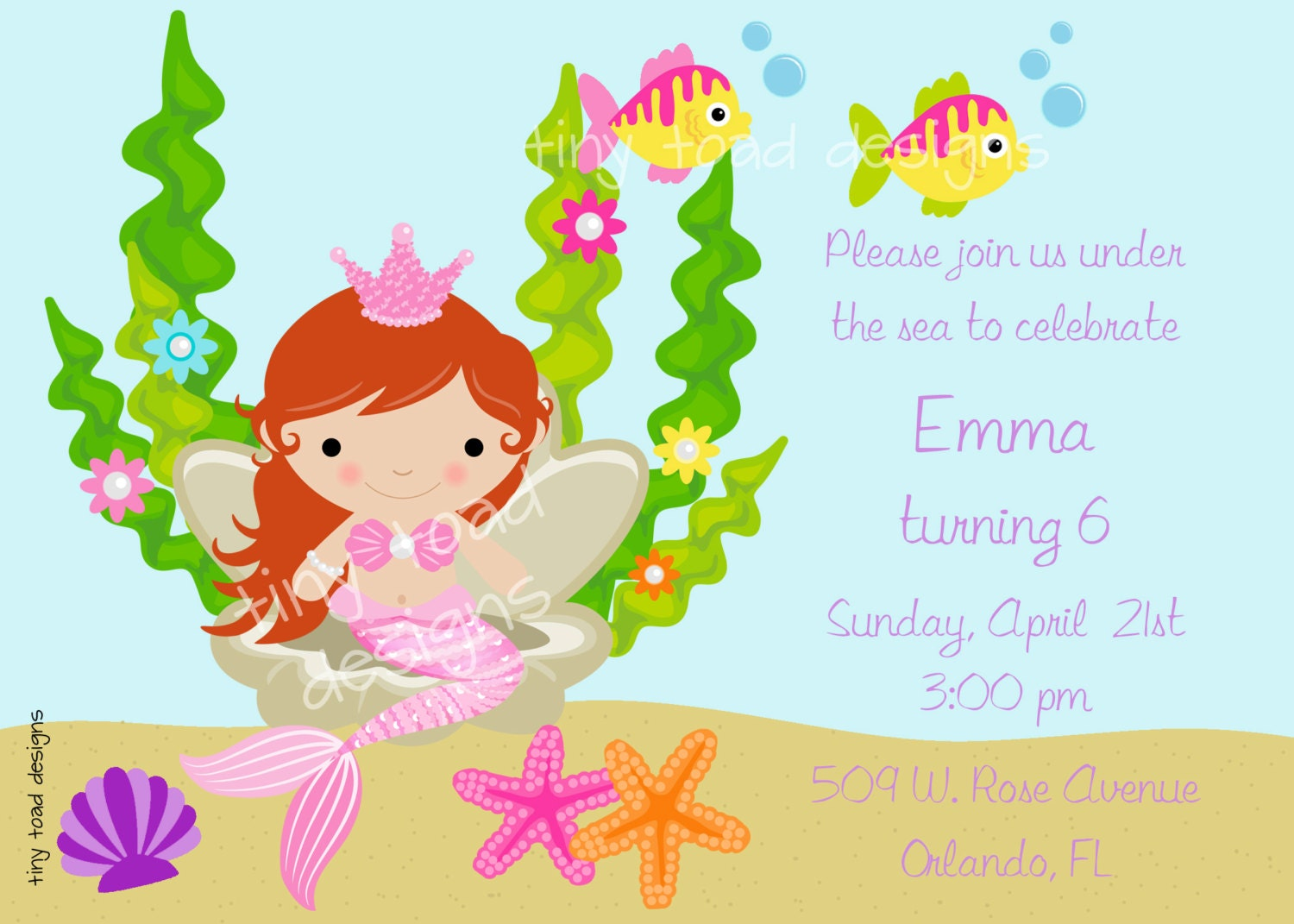 Mermaid Under the Sea Birthday Party Invitation DIY
