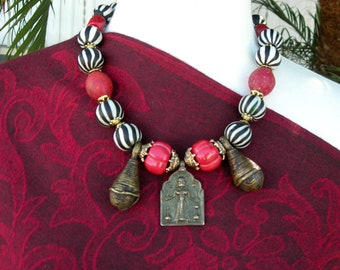 """Indian Goddess Pendant, Old African Bells, Old Striped Glass & Real Coral Melon Beads, Old Red """"Egg"""" Beads, Necklace Set by SandraDesigns"""