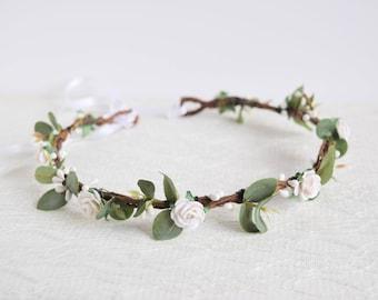 White Rose & Eucalyptus Flower Crown, eucalyptus flower crown, flowergirl garland, bridal floral crown, white leafy flower crown; ELIZABETH
