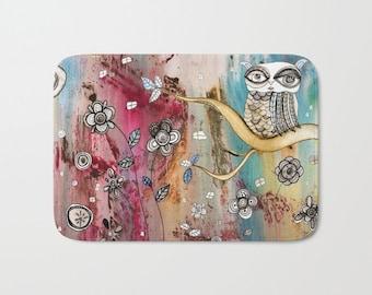 Owl Bath Mat Kitchen Mat Floral Bath Mat Microfiber Mat Boho Rug Shabby  Chic Owl Carpet