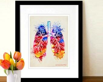 "Fine Art Print - ""Watercolor Lungs "" 8.5"" x 11"",Anatomy Medical print, Pulmonologist Gift, Nurse Graduation gift, Watercolor Splatter art"