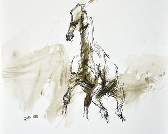 Equine Art, Animal, Modern Original Fine Art, Acrylic, Ink and Pen Drawing of Horse on Paper, Expressive Art