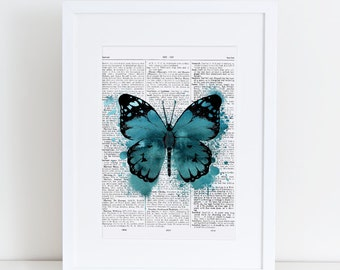 Dictionary page Butterfly, Teal, Ink, watercolor, A4, watercolour, butterfly print,print at home,digital download, vintage, dictionary page,