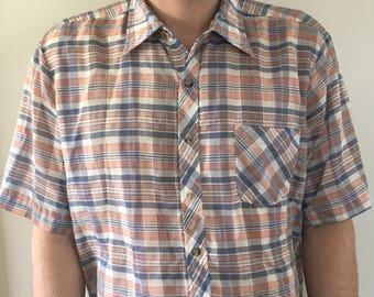 Vintage 80s Plaid Button Up Short Sleeve Shirt