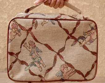 Vintage Tapestry Bag, Vintage Lunch Bag, Cherub Angels, Brown, Makeup Purse, Vintage Purse, 50s inspired, 1950s