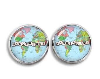 Wanderlust Earrings Wanderlust Stud Earrings 12mm Traveler Boho Jewelry Gypsy Earrings Wanderlust Jewelry
