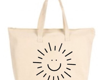 Smiling Sun Large Tote Bag with zipper closure  - Beach Bag, Purse, Gift Bag