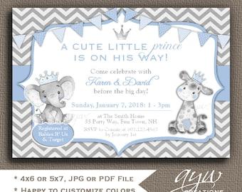 Giraffe and Elephant Baby Shower Invitations Boy Prince Elephant and Giraffe Baby Shower Invite Printable Jungle Baby Shower Invitation