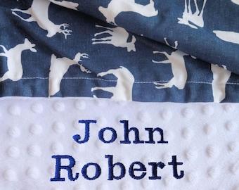 Deer Minky Baby Blanket. Baby Gift Baby Shower Gift Baby Boy Gift Personalized Baby Gift