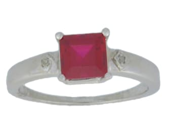 1 Ct Ruby & Diamond Princess Cut Ring .925 Sterling Silver Rhodium Finish