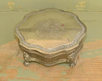 Silver Plate Keepsake Box Vintage Trinket Box Coat of Arms of United Kingdom Jewelry Box