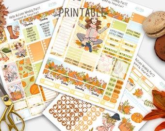 SALE 50% Off Autumn Planner Stickers, Autumn Weekly Kit, September Planner Stickers, October stickers, Fall Planner stickers, Erin Condren
