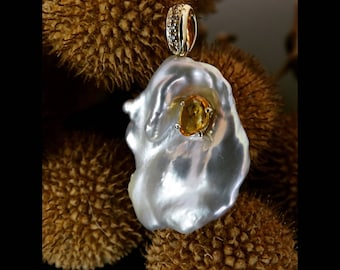 Gorgeous Freshwater pinkish white keshi pearl 14k gold pendant with brown diamonds and orange sapphire