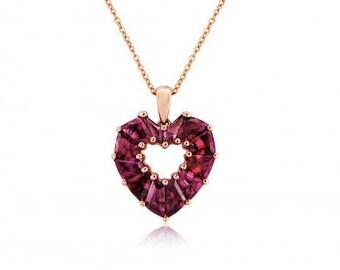 Brazilian Garnet Rose Gold Heart Pendant and Chain Necklace