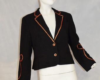 Vintage Fitted cropped Tuxedo Jacket Blazer with scroll red and Gold embellishment. by Kirkland Hall. Small Bust 38. VFG