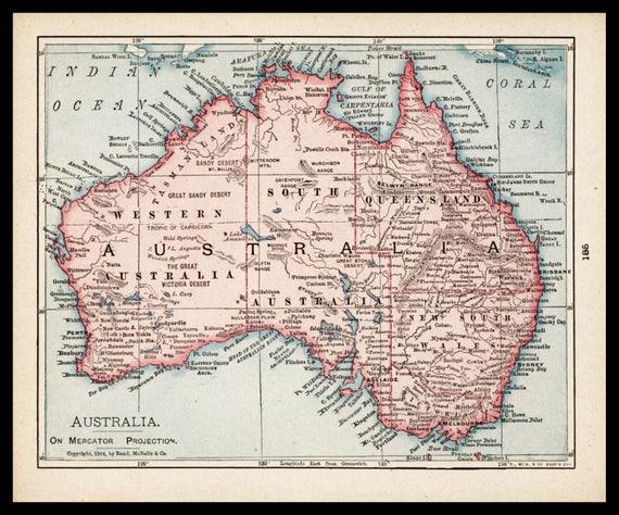 Kleine Australien Karte von Australien alte Farbe Karte