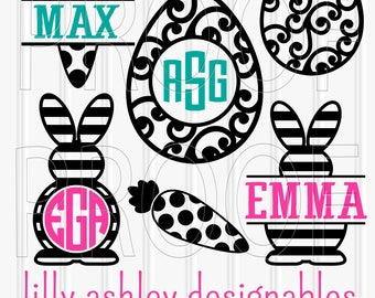 Easter SVG Files Set of 6 cutting files SVG/PNG/jpg formats easter svg bunny svg bunny ears (Monograms/names for display purposes only)