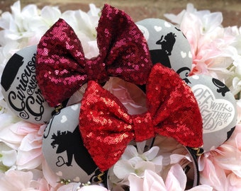 Queen/ hearts/ alice/ off with their heads/ wonderland/ black and grey/ red/ bow/ headband/ sequin/ ears