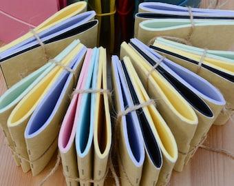 A7 Micro Notebooks THREE PACK Fauxdori Travelers Notebook Inserts Pastels Kraft Blackout Bamboo White Cream Cartridge Fountain Pen Friendly