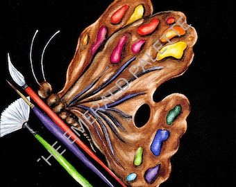 """Artist Palette Butterfly 8""""X8"""" Giclee on watercolor paper"""