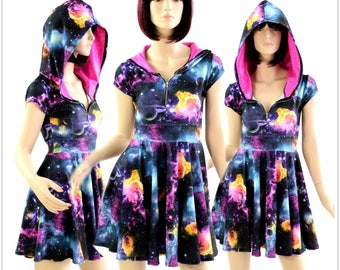 UV Glow Galaxy Print Cap Sleeve Zipper Front Skater Dress with Neon Pink Hood Lining Lycra Spandex Clubwear Festival Rave 154399