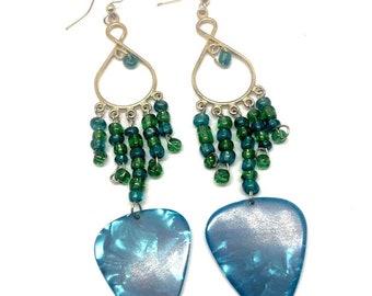 Blue Guitar Pick Chandelier Earrings