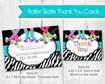 Roller Skating Thank You Cards- Instant Download