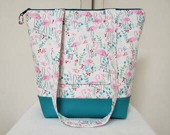 Tote Bag with Flamingos, Vinyl Bottom, Large Purse with Flamingos, Flamingo Tote Bag, Tote with Pockets, Washable, Flamingo Travel Bag.