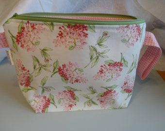 Pink Flowers - Wide - Zipper Project Bag